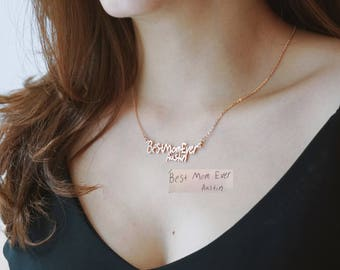 30% OFF Personalized Handwriting Necklace - Handwriting Jewelry - Memorial Signature Necklace - Sympathy Gift - Mother's Day