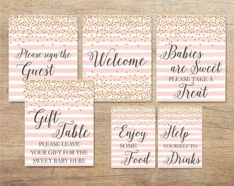 Pink and Gold Baby Shower Signs, Printable Decorations, Baby Sprinkle Decor, Blush Gold Confetti Sign, Girl, Welcome, GP Instant Download