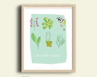 Herb print, PRINTABLE art, garden print, food print, green print, 8X10 print, kitchen wall art, home decor, 16X20 print, house plants, gift