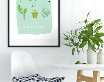 My Secret Garden, modern botanical print, PRINTABLE, wall art, digital art print, garden home art, garden decor, garden art, cool home decor