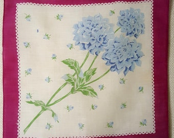 Blue Dahlia Vintage Cotton Handkerchief with Magenta Boarder