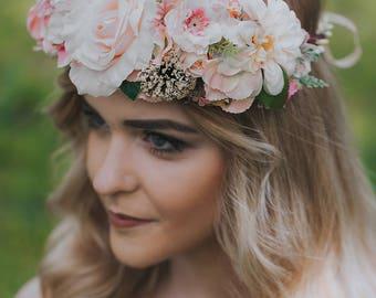 Unique flower crown Summer flower crown Wedding floral crown Rose flower crown Flower head wreath Peach floral crown Boho floral crown