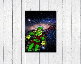 "Aqua Spaceman 8.5x11"", 11x14"" Print, Space Art, Funny Astronaut, Space Travel Print, Collage Print, Home Decor, Funny Artwork, Cartoon"