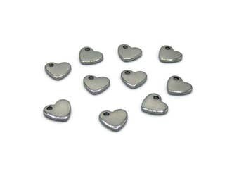 Hearts made of stainless steel - charm - heart - silver heart pendant - heart A001