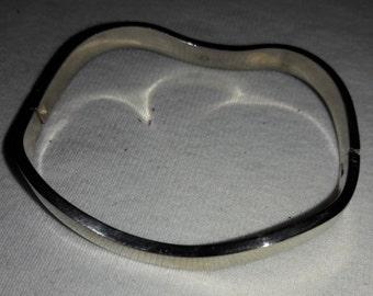 925 Sterling Silver Modernist Wave Vintage Bracelet