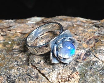 Sterling Silver and Moonstone Lotus Ring Inner Diameter Any Regulated Jewelry Design Silver Sun Style Handmade Made in Bali