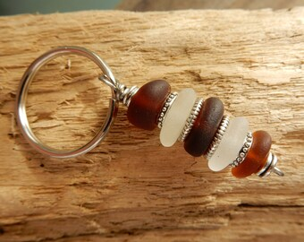 Amber and Frosty Sea Glass Stack Key Chain with Silver Beads - Real Seaglass Sea Stacker Cairn Key Ring KR04