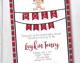 Alabama Baby Shower Invitation - Bama Baby Roll Tide