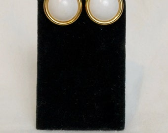 Napier Faux Pearl Gold Circle Screw Back Earrings