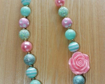 Pink Flower Pendant with Seafoam Green Rhinestones and Gold Accents Chunky Bead Necklace