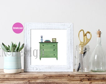 Dresser Watercolor Print - Download - Two Sizes - 8x8 and 8x10
