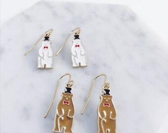 Gentleman teddy bear earring; polar bear earrings; bow tie; bear with bow tie