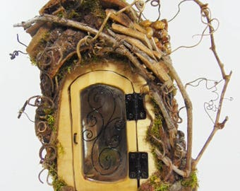 Fairy house with furniture, fairy garden house, wood fairy house, custom fairy house, reclaimed wood fairy house, gnome house, pope mountain