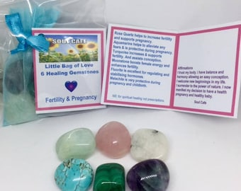 Fertility & Pregnancy  Crystals - 6 Grade A Fertility Tumblestones - Healing Crystal Gemstones - Malachite - Moonstone - Turquoise