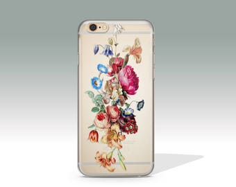 Floral iPhone 7 Case Clear iPhone 7 Plus Case Flower iPhone 7 Case Clear iPhone 6 Case iPhone 6s Case Mother's Day Gift Christmas Gift //183
