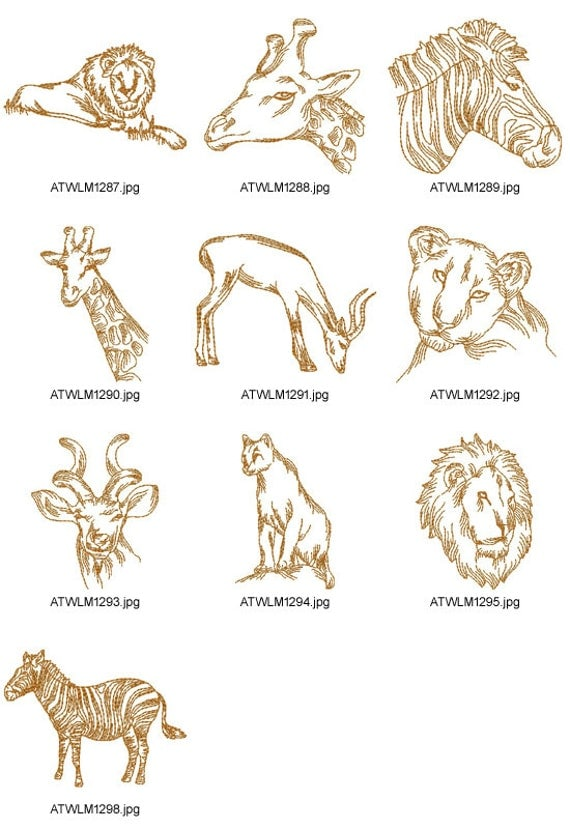 Wild african animals machine embroidery designs from atw