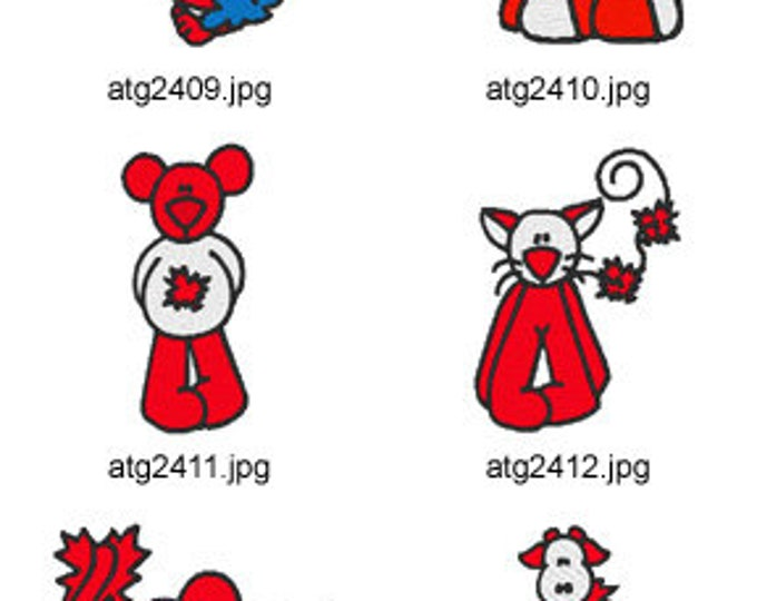 Patriotic-Critters-US-and-Canada ( 12 Machine Embroidery Designs from ATW ) XYZ17C