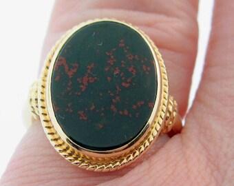 INCREDIBLE Vintage BLOODSTONE HELIOTROPE Ring Estate 14K Rose Gold Size 5