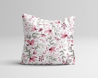 "Throw Pillow Case - Watercolor Throw Pillow Cover - Home Decor Cottage Decor ""Rustic Floral"" Watercolor Pillow Case Floral 16x16 
