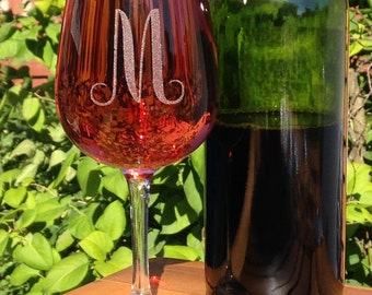Stemmed Wine Glasses-Monogram-Engraved-Personalized-A-Z letters-(Set of 2)