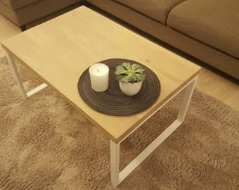 Coffee table made of oak. Bleached with an oil. Handmade of solid wood.
