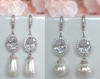 Handmade Cubic Zirconia CZ and Swarovski Pearl Dangle Bridal Earrings, Bridal, Wedding (Pearl-629)