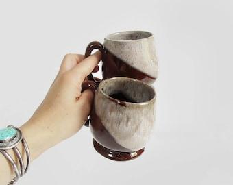 vintage drip glaze mugs / mid century ceramic coffee mug set / 1960s evangeline canadian pottery mugs