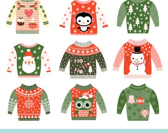 Clip Art Ugly Christmas Sweater Clipart ugly sweater clipart etsy cute christmas party clip art set tacky graphics funny kawaii clipart