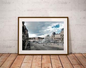"""Paris Photography, Louvre Museum, Louvre Pyramid, Paris architecture print, Large Wall Art Print, 20 cm x 30 cm, 8"""" x 12"""""""