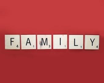 "Family Large Wooden Word Letter Tiles Engraved, Pine Love Sign, Letter Tiles 5x5"" Wood Squares Black Engraved Lettering"