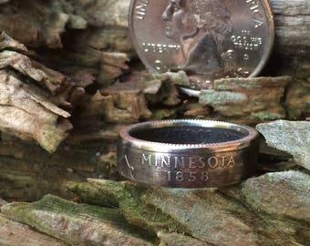 Silver Minnesota quarter coin ring