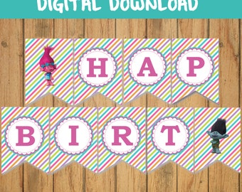 TROLLS - BIRTHDAY - BANNERS- digital  download