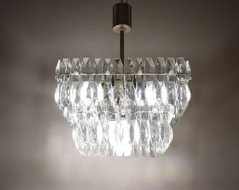 Vintage crystal chandelier - Crystal light - Mid-century lighting