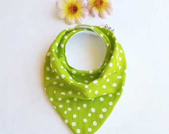 Bandana bib in Green Random Dots! Cool Designers Baby Bib, Drool bib, Dribble bib, Teething Bib in Cotton Double Gauze, Great Baby Gift!