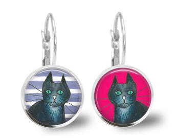 Cat Earrings, Cat Jewelry, Cat Drop Earrings, Cat Stuff, Fun earrings, Mismatched Earrings, Quirky Earrings, Kids Jewelry, Kids Earrings