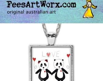 Love Panda Pendant, Panda Necklace, Love Pendant, Love Necklace, Panda Jewellery, Panda Jewelry, Panda Bear, Love Gift, Gift for Her