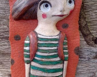 Terracotta sculpture-terracotta poster-terracotta figurines-figurines-sculptural clay handmade terracotta-striped t-shirt