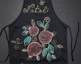 Personalized,Custom Chef's black apron,Sparkle Hand painted,Batik,For cooking,For chef,Gift for her,Gift for mom,Armenian gift,Armenian art
