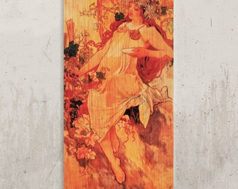 Alphonse Mucha - Vintage poster Mucha, Art Nouveau / / Transfer on wood