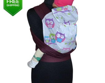 Mei Tai Pink Owls, Baby Carrier, Mei Tai carrier, Toddler carrier, mei tai baby carrier, baby wrap