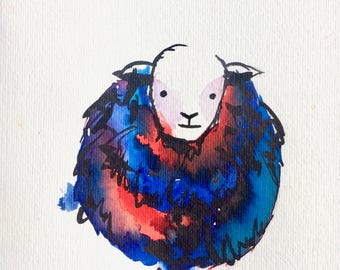 Ethel the Sheep. Hand painted greetings card.