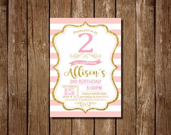 2nd Birthday Invitation Girl, Pink and Gold First Birthday Invitation, 2nd Birthday , Pink Invitation, Gold Invitation, girls 2nd birthday