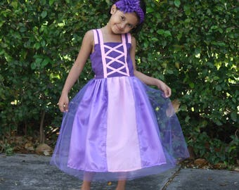 Rapunzel Dress, Tangled Dress, Girls Spring Dress, Girls Party Dress, Girls Birthday Dress, Girls summer Dress