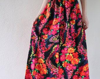 Colorful Vintage Maxi Skirt Floral Festival Long High Waisted Handmade Flower Power Neon Bright Hippie Boho 70's Skirt Floor Length Flowers