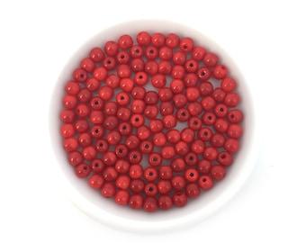 100pc 4mm Czech Glass Round Opague Red #4094B