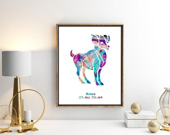 Aries 1 Watercolor  Astrology Art, Aries Print, Aries Sign ,Aries Zodiac, Aries Wall Art, Aries Poster, Gifts for Aries , Archival Art Print