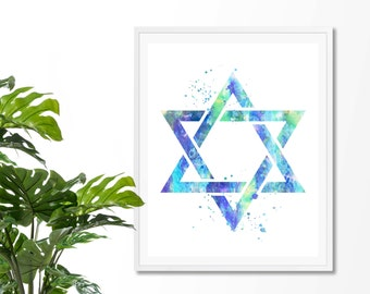 Star Of David #3 Watercolor Art Print, Jewish, Shield of David, Hebrew, Religious, Magen David, Poster,Wall Art, Giclee, Home Decor