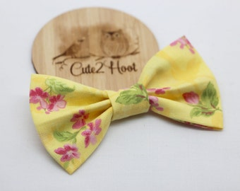 Yellow Floral Hair Bows, Hair Clips, bow hair clips, hair accessories, baby hair clips, girls hair clips, alligator clips, nylon