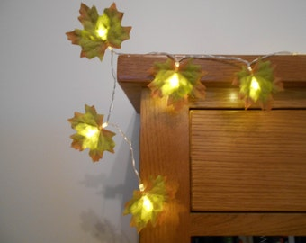 Green Leaves Fairy Lights String Lights Battery Operated - LED Garland -  Leaf Wedding / Bedroom Decoration - Choose 1m 2m 3m 4m 5m 10m
