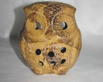 Owl LANTERN vintage ceramic hanging candle HOLDER brown olw home decor light